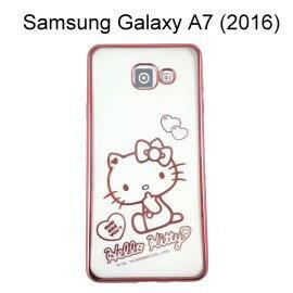 Hello Kitty 電鍍軟殼 [愛心] 玫瑰金 Samsung A710Y Galaxy A7 (2016)【三麗鷗正版授權】
