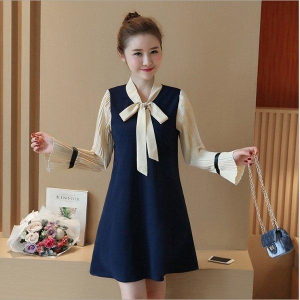 *漂亮小媽咪*韓國實拍假兩件長袖立領蝴蝶結緞帶孕婦裝百褶喇叭袖洋裝D6300