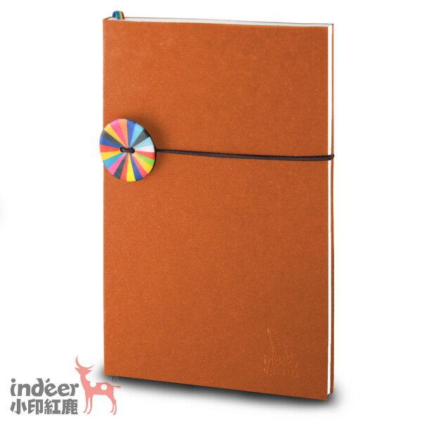 【indeer小印紅鹿】超輕手感 法式質感素色封面 手工製作 │ 巴黎小日光筆記本-溫馨橘