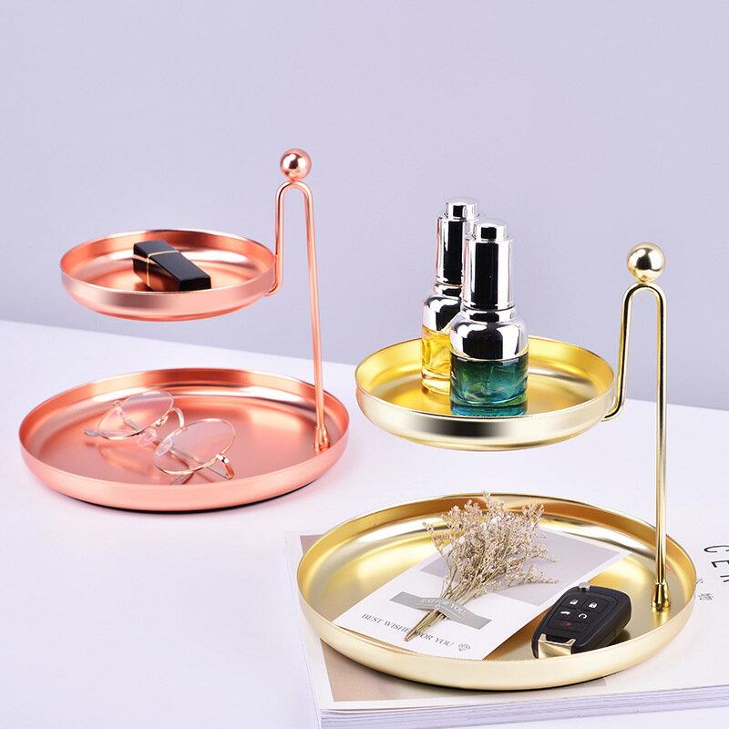金色電鍍雙層首飾收納托盤家居桌面收納擺件梳妝台置物盤
