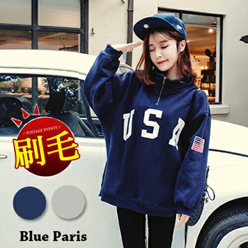 上衣 ~ USA美國國旗印花立領拉鍊寬鬆長袖T恤~29172~藍色巴黎~2色~