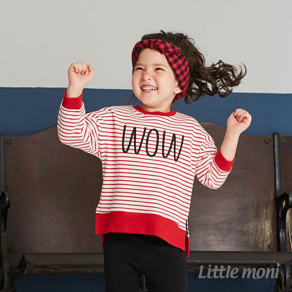 Little moni 圓領寬鬆條紋刺繡上衣 -紅色(好窩生活節) 1