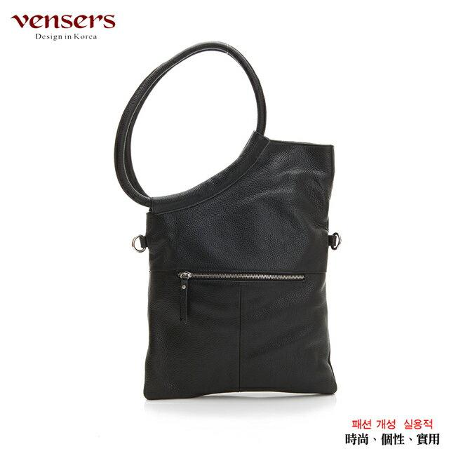 【Vensers】小牛皮潮流個性包~斜肩背包(NB1671801黑色) 1