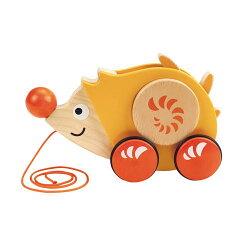 德國Hape愛傑卡 推拉系列-刺蝟拉車.幼兒玩具.1歲以上.新品登場【紫貝殼】