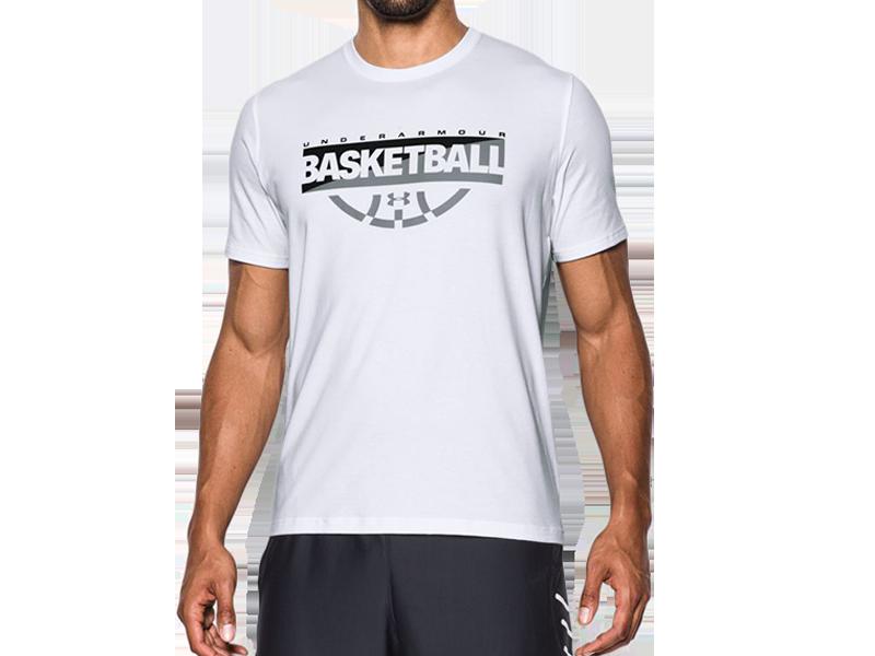 《UA出清69折》Shoestw【1298347-101】UNDER ARMOUR UA服飾 短袖 T恤 能量棉 BASKETBALL 白色 男生