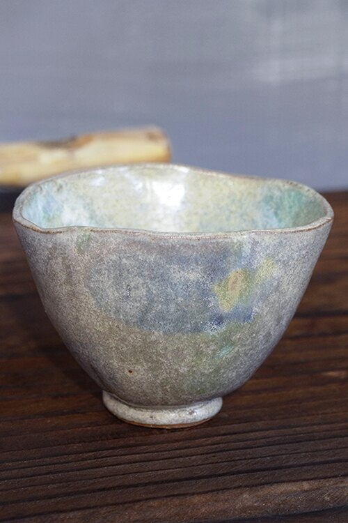 Tiner的手捏陶204號  粉綠色小茶杯