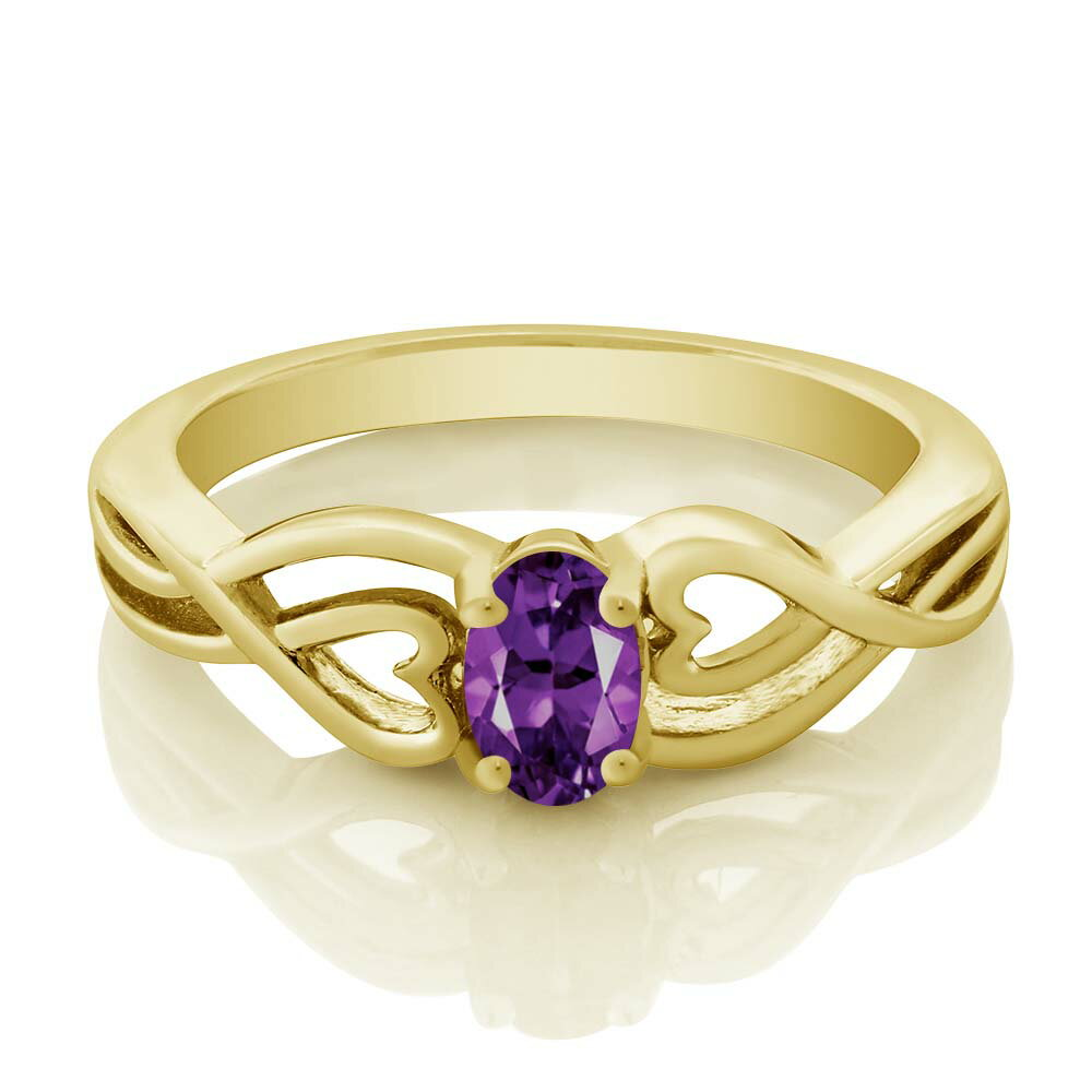 0.35 Ct Oval Purple Amethyst 18K Yellow Gold Plated Silver Ring 1