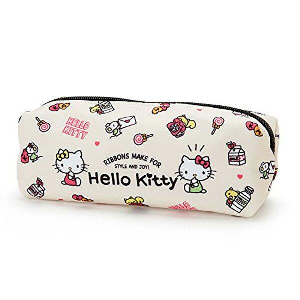 【凱蒂貓單層筆袋】三麗鷗 凱蒂貓 單層 筆袋 鉛筆盒 尼龍 米白色 Sanrio  該該貝比  ☆