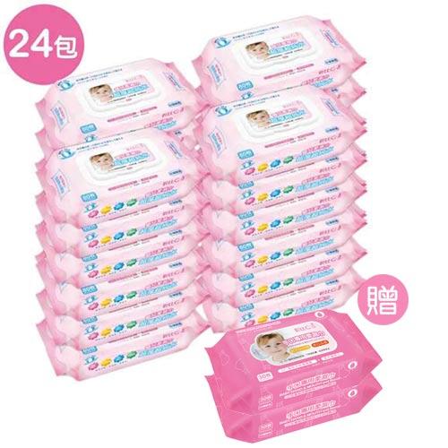 【奇買親子購物網】貝比QEDI超厚超純水柔濕巾80抽x24包箱(無香料)贈貝比Q手口專用柔濕巾(30抽)2包
