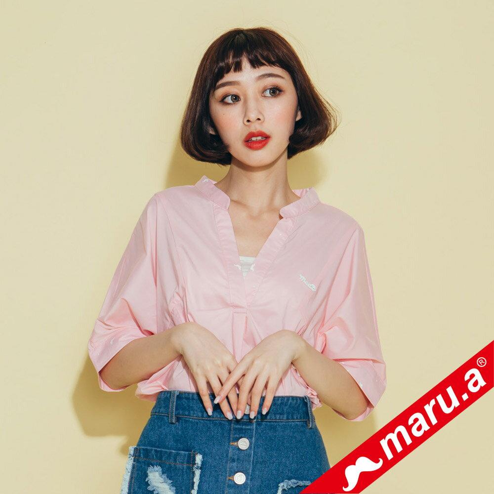 【maru.a】印花拼接V領寬鬆襯衫(2色)8313118 1