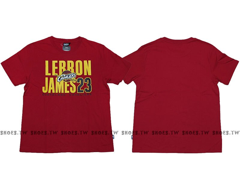 Shoestw【8730260-011】NBA T恤 棉 克里夫蘭 騎士隊 LEBRON JAMES 23 名字 紅色