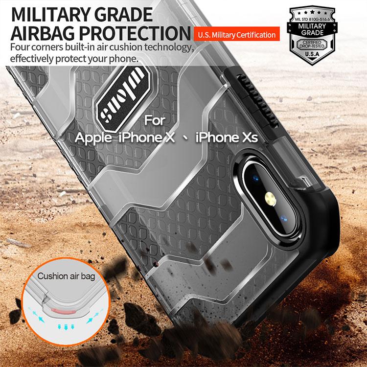 【軍工級防摔殼】Apple iPhone X /iPhone Xs  5.8吋  探索者防摔殼/氣囊保護殼/手機背蓋/半透明殼-ZW