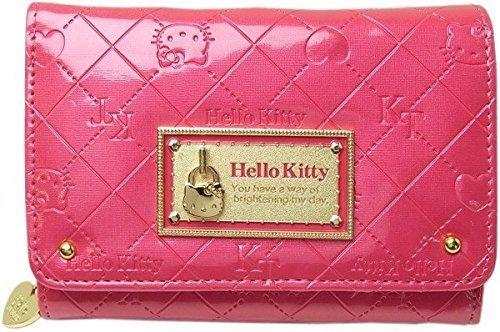 【真愛日本】14021500007 雙折短夾-KT鎖頭菱格紋紅 三麗鷗 Hello Kitty 凱蒂貓 零錢包 皮包