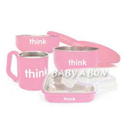 thinkbaby 環保不鏽鋼兒童餐具組-草莓粉【悅兒園婦幼生活館】