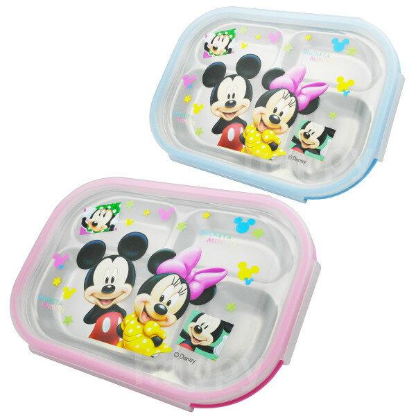 米奇 米妮 不銹鋼隔熱餐盤 分格保鮮餐盤 便當盒(顏色隨機出貨)【德芳保健藥妝】