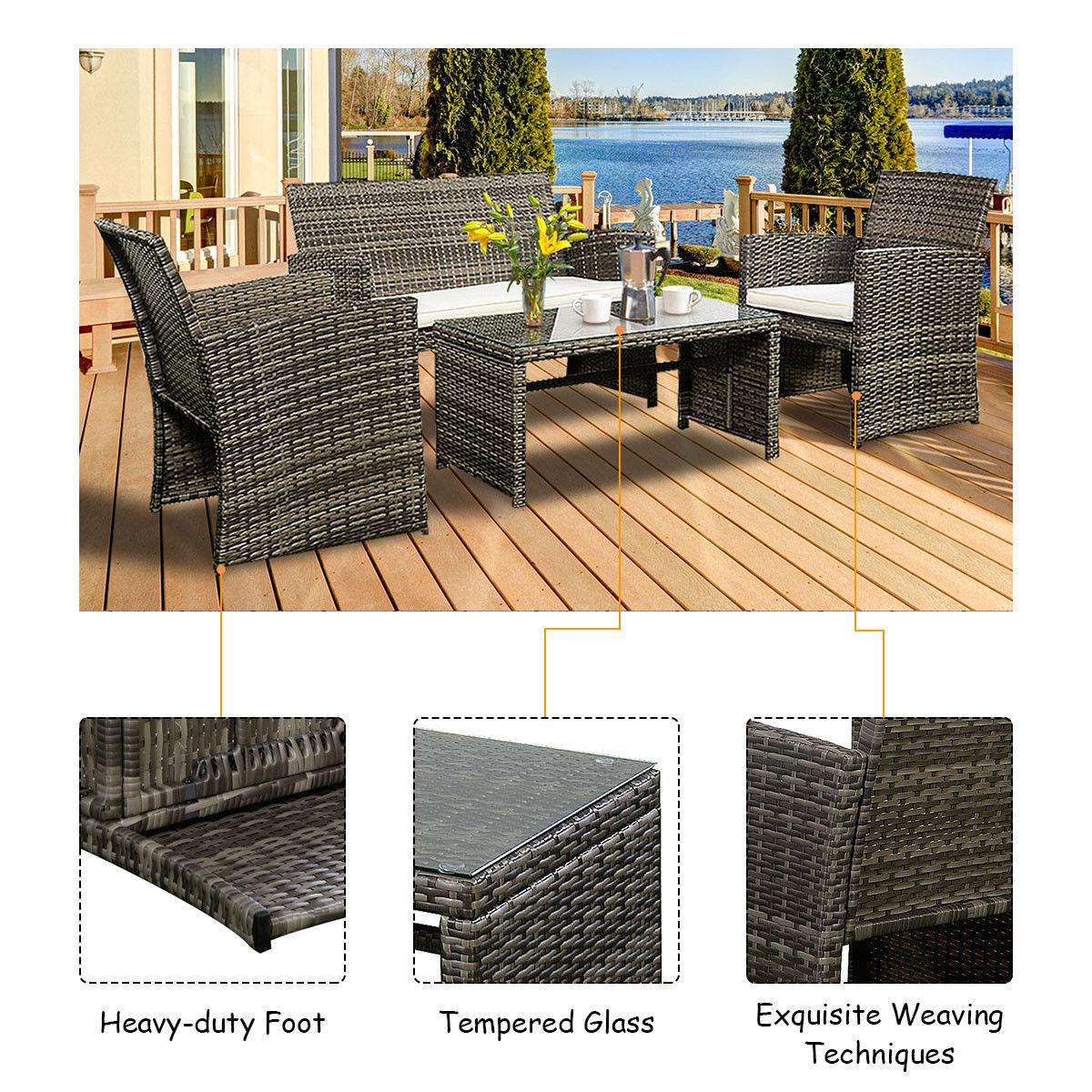 costway 4 pc rattan patio furniture set garden lawn sofa cushioned seat mix gray wicker 4 - Garden Funiture Set