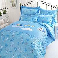 小叮噹週邊商品推薦【享夢城堡】精梳棉雙人床包枕套5X6.2三件式組-哆啦A夢DORAEMON 星光閃閃-藍
