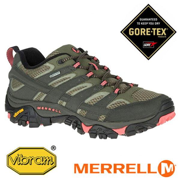 【Merrell美國】MOAB2GORE-TEX戶外多功能鞋防水健行鞋橄綠粉橘女款(ML41106)