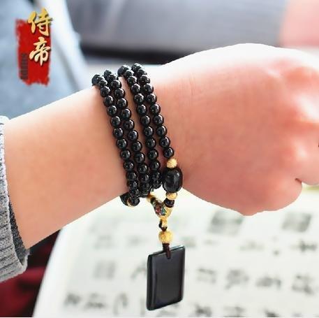 黑碧璽108顆佛珠手鏈佛牌鏈項鏈3用鏈