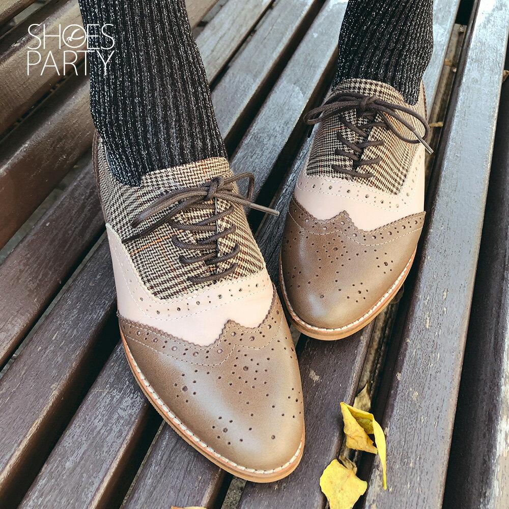 【C2-19525L】外尖內圓-英倫風綁帶真皮牛津鞋_Shoes Party 1