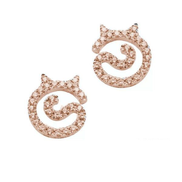 美琪新款S925純銀日韓貓印貓咪耳飾小貓耳釘簡約系列靈感設計