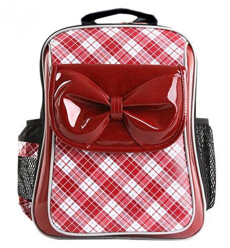 X射線【C3236N】UnMe蝴蝶蘇格蘭紋可愛款(蝴蝶結.紅)3236台灣製造,開學必備/護脊書包/書包/後背包/背包/便當盒袋/書包雨衣/補習袋/輕量書包/拉桿書包