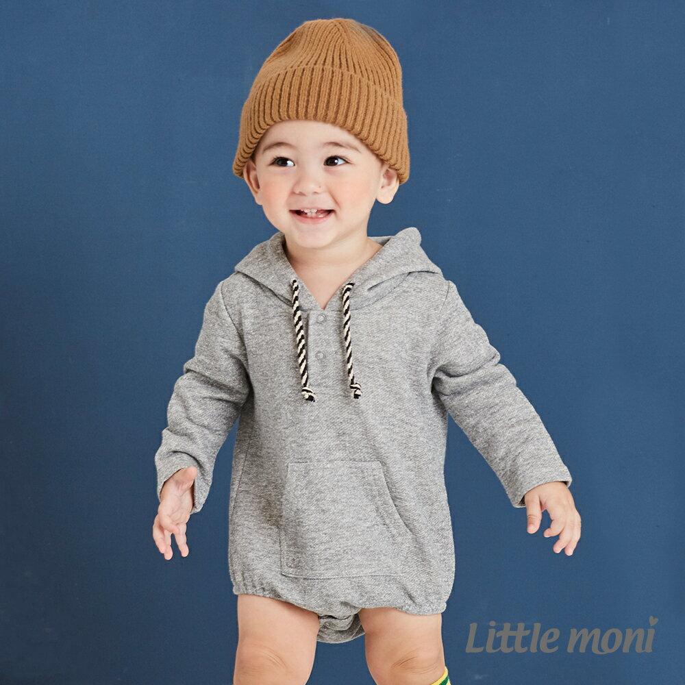 Little moni 連帽包屁衣-麻花灰 1