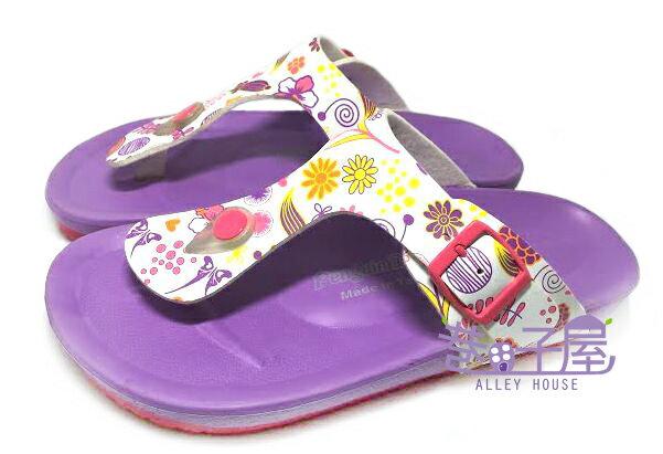 【巷子屋】繽紛花朵經典伯肯造型夾腳拖鞋 [88002] 紫 MIT台灣製造 超值價$100