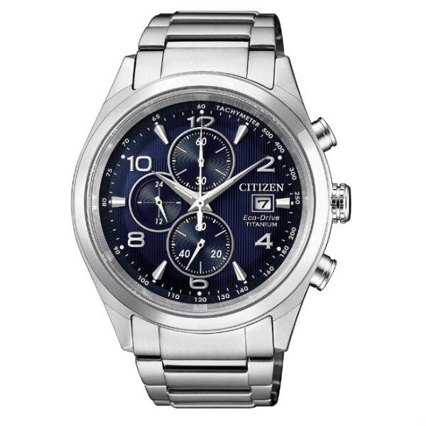 CITIZEN星辰錶CA0650-82L商務時尚光動能計時鈦金屬腕錶藍面43mm