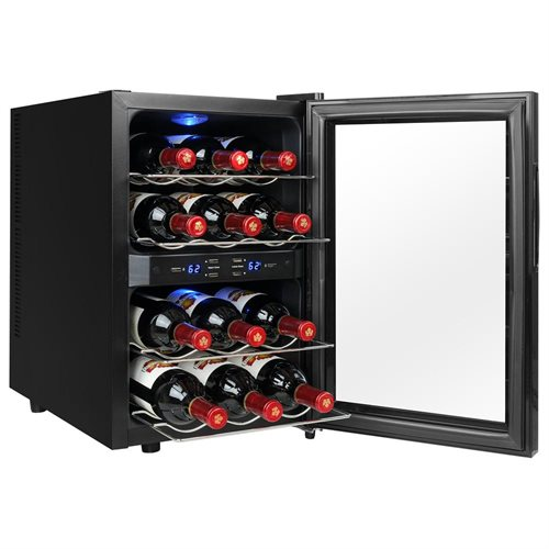 AKDY 12 Bottles Freestanding Dual Zone Thermoelectric Wine Cooler Reversible Doors Push Button 1