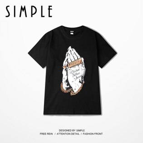 SIMPLE:★現貨★街頭個性超大尺碼HIPHOP搖滾嘻哈短袖T恤潮流胖子男女款情侶裝【E185】SIMPLE