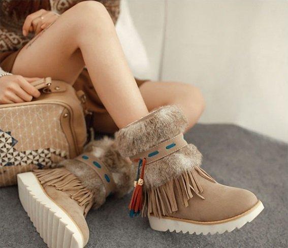 Pyf♥熱賣流蘇民族風毛毛靴平底保暖短靴424344大尺碼女鞋