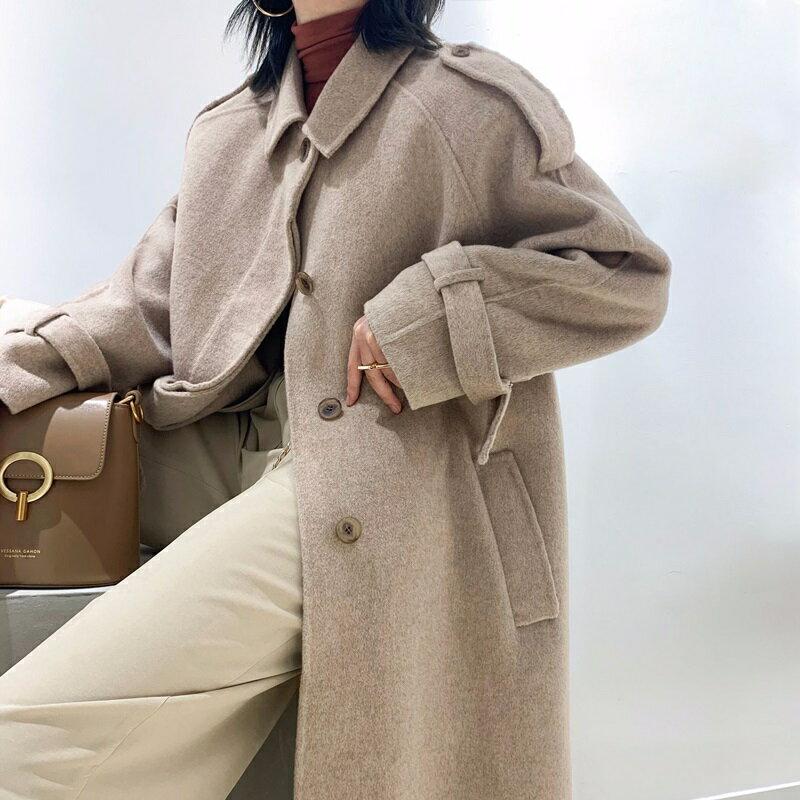 毛呢大衣羊毛外套-長版駝色繫帶兔子領女外套73wb11【獨家進口】【米蘭精品】 2