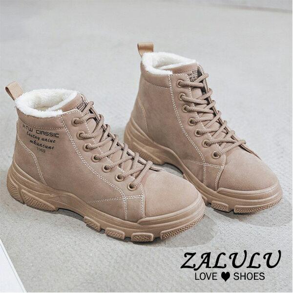 8JE219 預購 保暖內裡絨面時尚綁帶休閒短靴-米白 / 粉紅 / 黑-36-40【ZALULU愛鞋館】 2