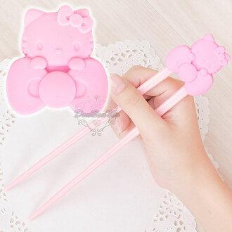 KITTY寶寶學習筷專用輔助器握筷器矽膠趴姿蝴蝶結575416海渡