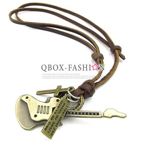 《 QBOX 》FASHION 飾品【 W10023495】精緻個性復古環扣愛情吉他合金皮革墬子項鍊