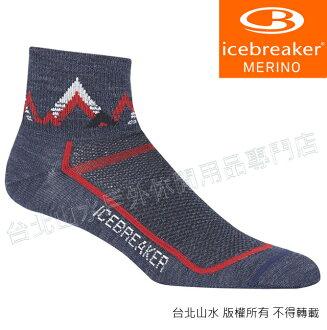 Icebreaker 短筒輕薄毛圈多功能運動襪/羊毛襪/排汗襪/低筒襪/美麗諾羊毛 男款IB101483 401灰藍/紅