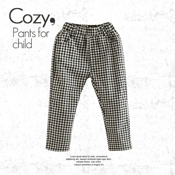 休閒撞色格紋雙口袋長褲0814(黑白格)【K12478】