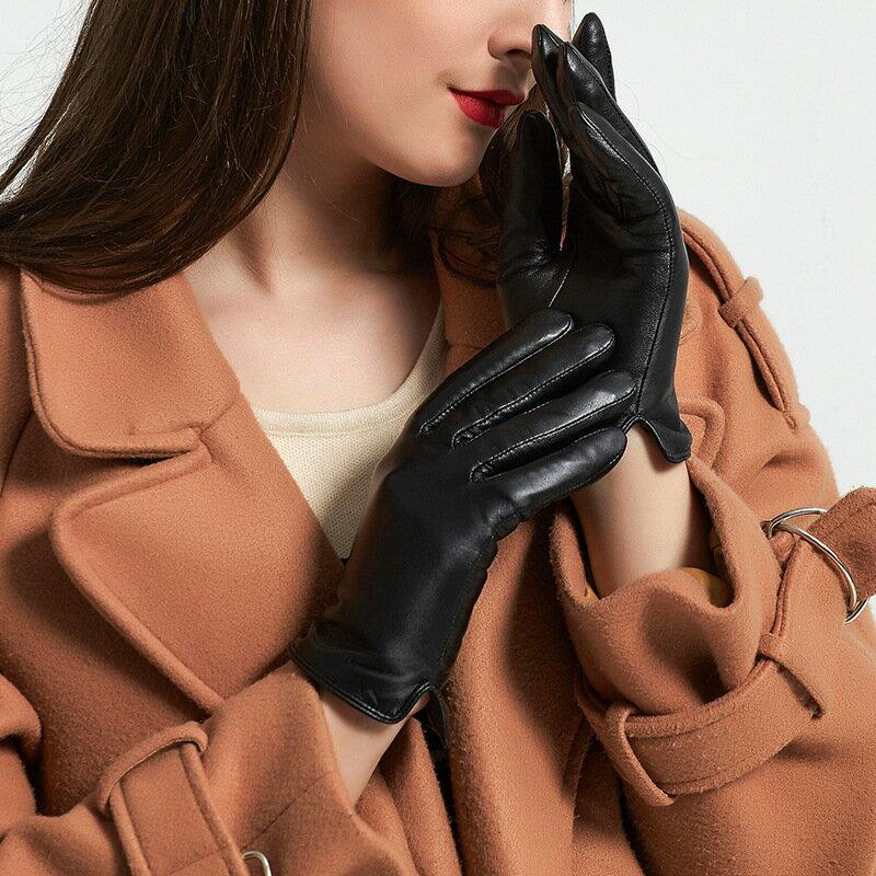 觸控手套真皮手套-山羊皮加絨經典光板女手套73wm52【獨家進口】【米蘭精品】 2