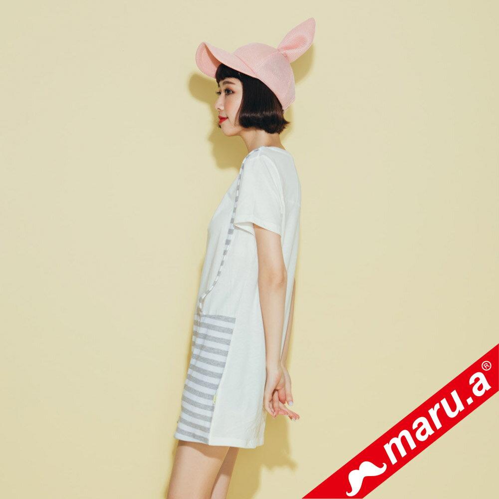 【maru.a】條紋拼接假吊帶長版T-shirt(2色)8321320 4