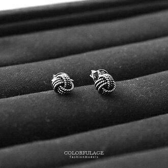 925純銀耳針耳環 交叉立體毛線球 小圓珠螺旋造型 柒彩年代【NPD209】一對價格 0