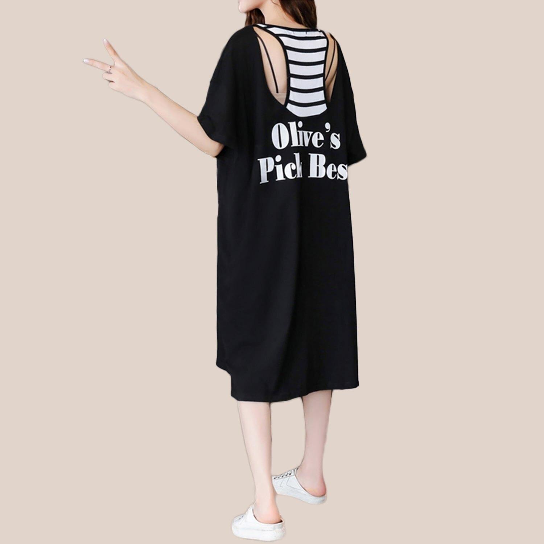 假二件--寬鬆休閒英字印花鏤空挖背假兩件式長版上衣 / 連身裙(黑M-3L)-D523眼圈熊中大尺碼 0