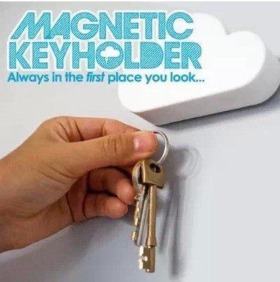 =優生活=創意可愛雲朵超強磁鐵 鑰匙吸收納器 白雲 鑰匙掛 強力磁鐵收納 居家擺飾