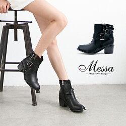 【Messa米莎專櫃女鞋】經典中性側拉鍊多扣環設計高跟短靴-黑色