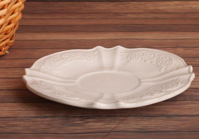 歐式浮雕花紋做舊鄉村複古陶瓷餐碟 小碟子 點心碟 零食碟 蛋糕碟2個組