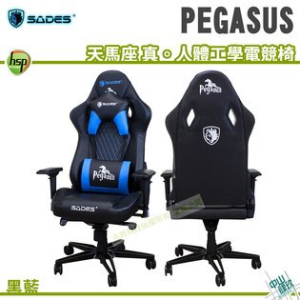 SADESPEGASUS天馬座真。人體工學電競椅(黑藍)