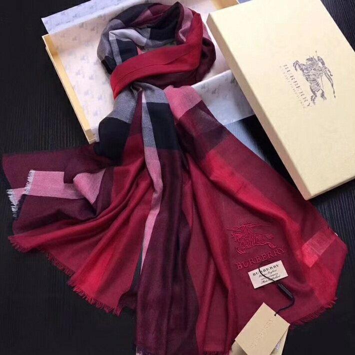 國外Outlet 代購 過季 Burberry圍巾 經典款5513 格子圍巾 百搭圍巾/披肩 保暖 圍脖 紅色