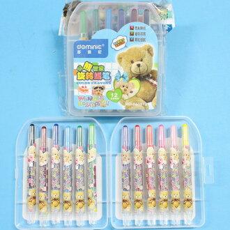 多咪尼12色旋轉蠟筆 MD-061912 短型彩桿小熊旋轉蠟筆(透明盒)/一小盒入{促79}