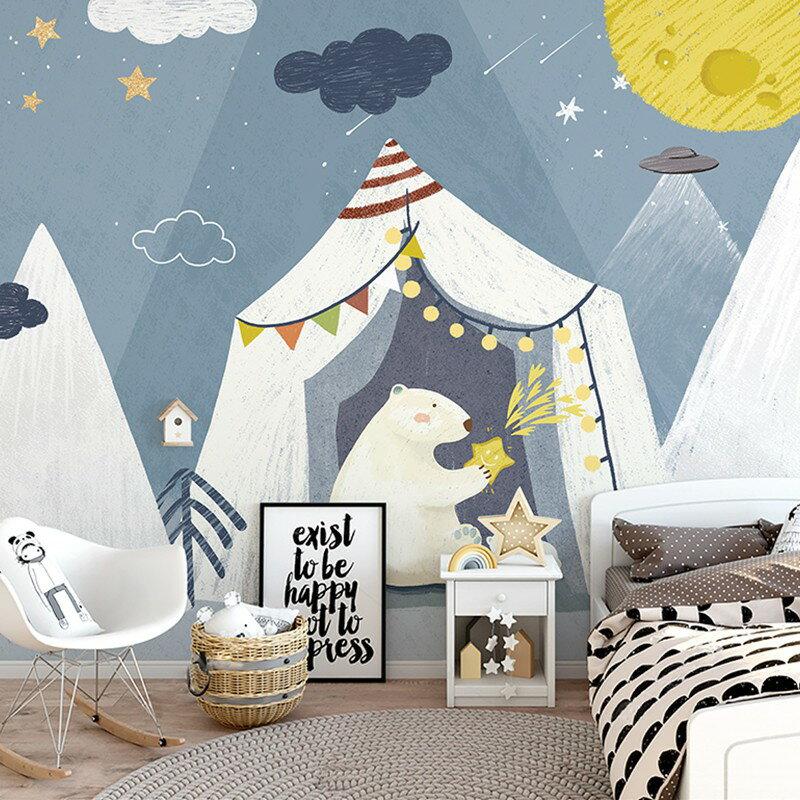 環保兒童房卡通壁畫男孩女孩臥室房間星空壁紙可愛北極熊墻布墻紙1愛尚優品