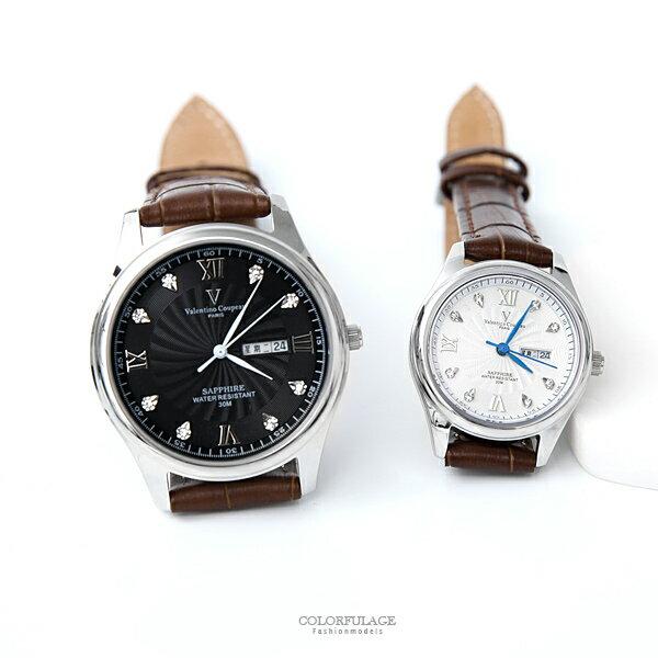 范倫鐵諾˙古柏羅馬數字皮革錶柒彩年代【NEV43】正品原廠公司貨